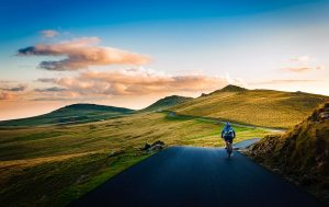 Man cycling in the countryland