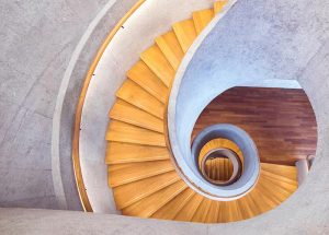 Beautiful spiral wooden stairs