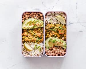 Healthy meal with beans