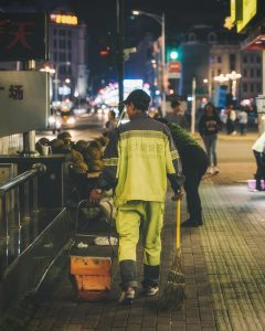 Public worker cleaning the streets