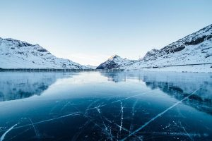 A lake covered in ice