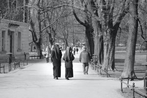 Two nuns walking in central park