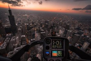 View over the city from the helicopter pilot seat