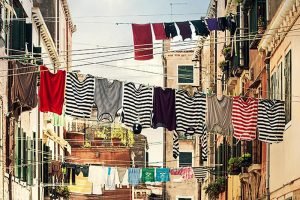 Fresh laundry drying outside